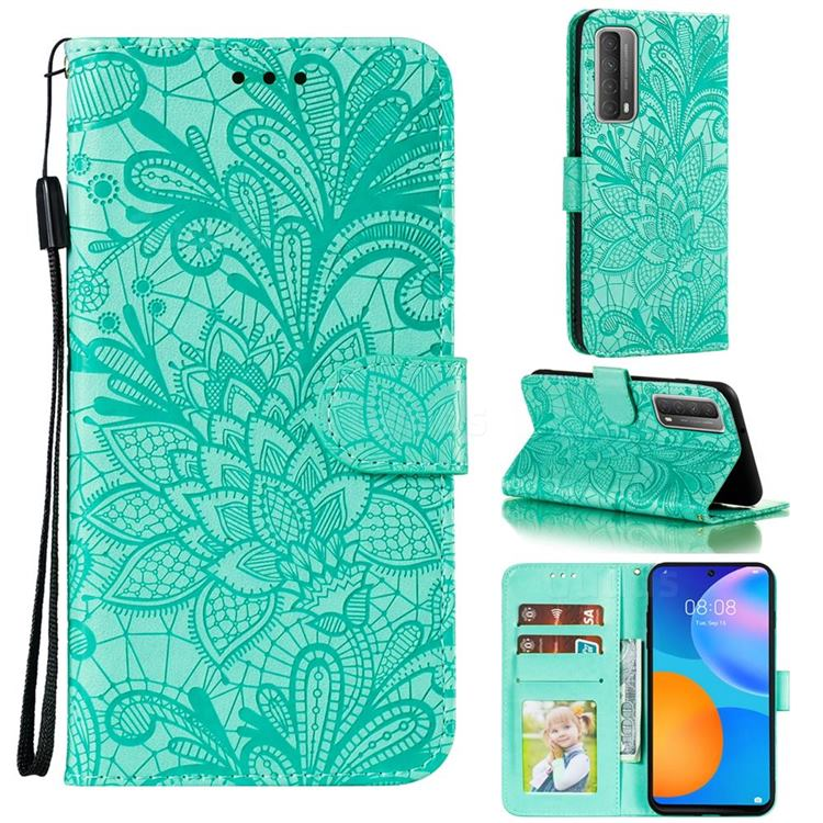 Intricate Embossing Lace Jasmine Flower Leather Wallet Case for Huawei P smart 2021 / Y7a - Green