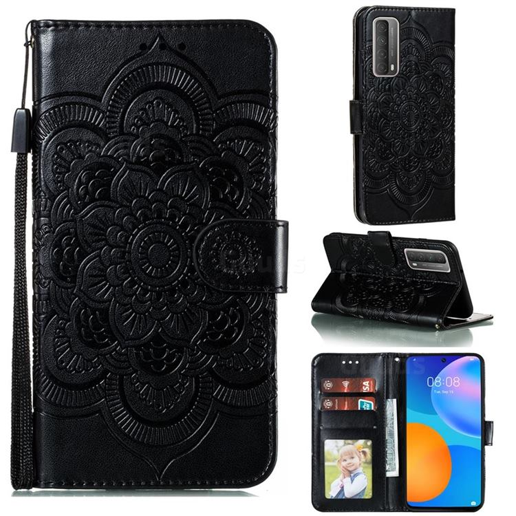 Intricate Embossing Datura Solar Leather Wallet Case for Huawei P smart 2021 / Y7a - Black