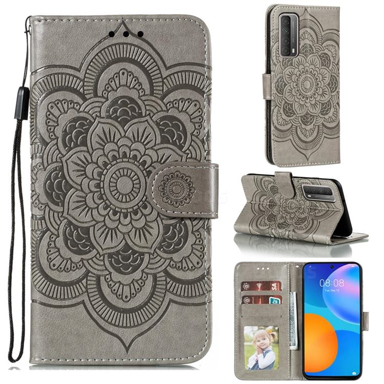 Intricate Embossing Datura Solar Leather Wallet Case for Huawei P smart 2021 / Y7a - Gray