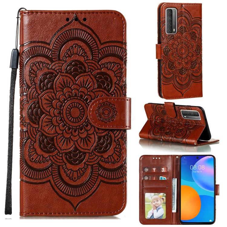 Intricate Embossing Datura Solar Leather Wallet Case for Huawei P smart 2021 / Y7a - Brown