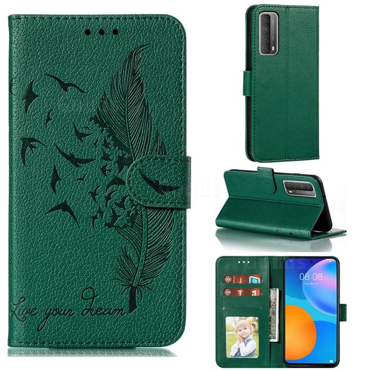 Intricate Embossing Lychee Feather Bird Leather Wallet Case for Huawei P smart 2021 / Y7a - Green