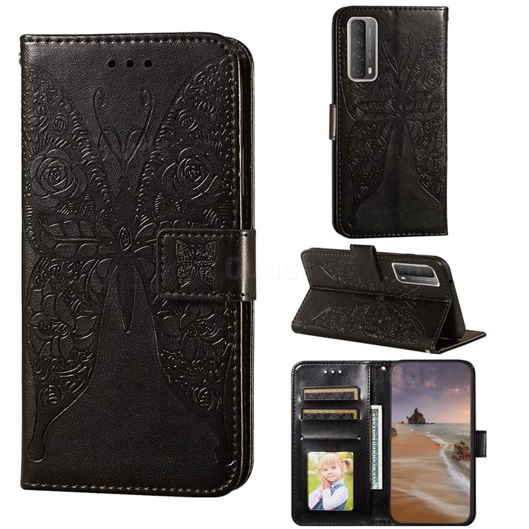 Intricate Embossing Rose Flower Butterfly Leather Wallet Case for Huawei P smart 2021 / Y7a - Black