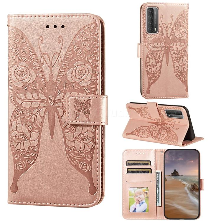 Intricate Embossing Rose Flower Butterfly Leather Wallet Case for Huawei P smart 2021 / Y7a - Rose Gold