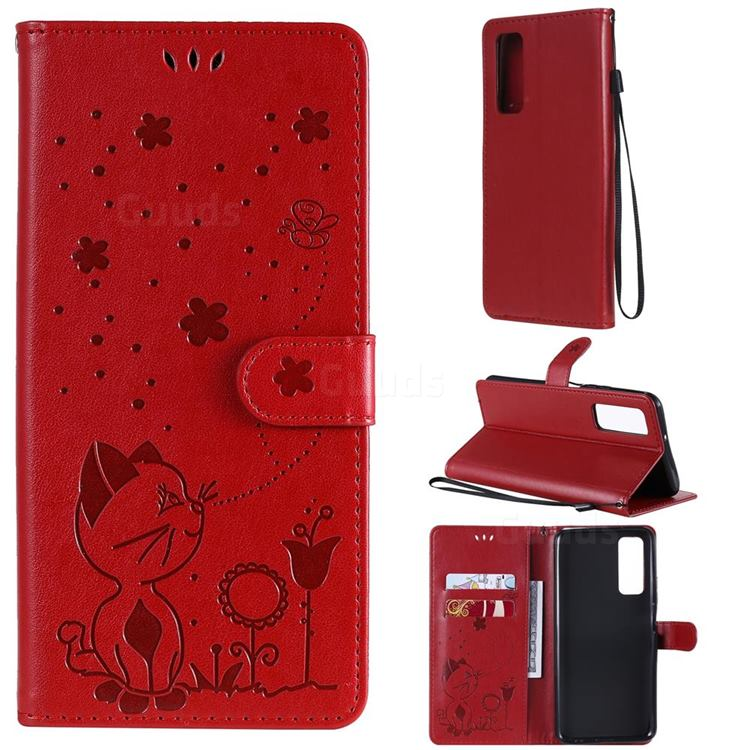 Embossing Bee and Cat Leather Wallet Case for Huawei P smart 2021 / Y7a - Red
