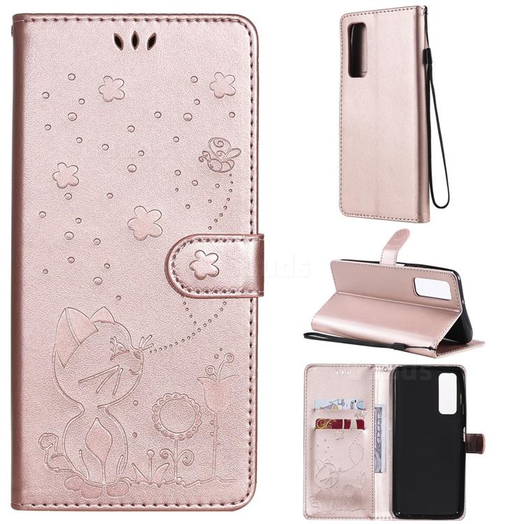 Embossing Bee and Cat Leather Wallet Case for Huawei P smart 2021 / Y7a - Rose Gold