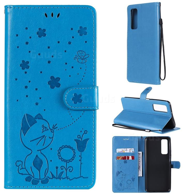 Embossing Bee and Cat Leather Wallet Case for Huawei P smart 2021 / Y7a - Blue