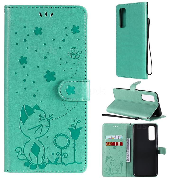 Embossing Bee and Cat Leather Wallet Case for Huawei P smart 2021 / Y7a - Green