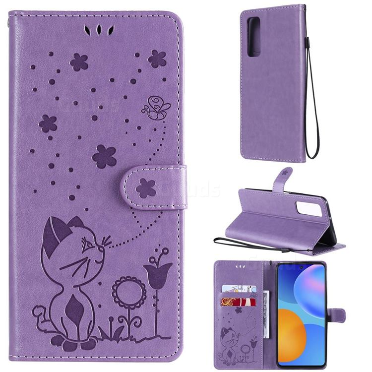 Embossing Bee and Cat Leather Wallet Case for Huawei P smart 2021 / Y7a - Purple
