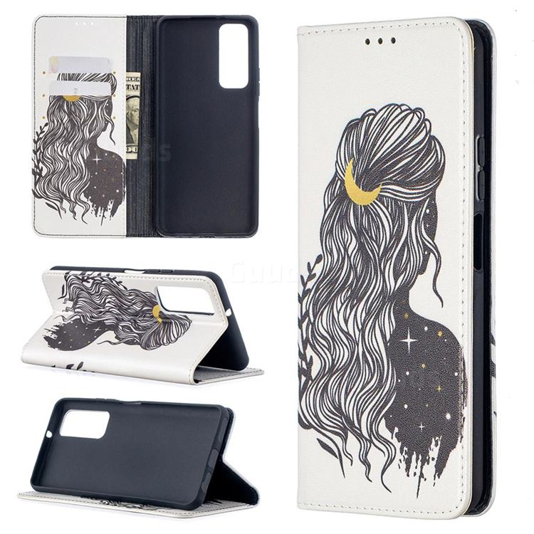 Girl with Long Hair Slim Magnetic Attraction Wallet Flip Cover for Huawei P smart 2021 / Y7a