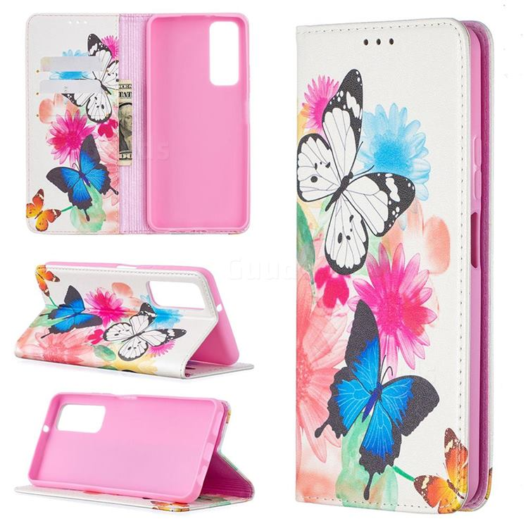 Flying Butterflies Slim Magnetic Attraction Wallet Flip Cover for Huawei P smart 2021 / Y7a