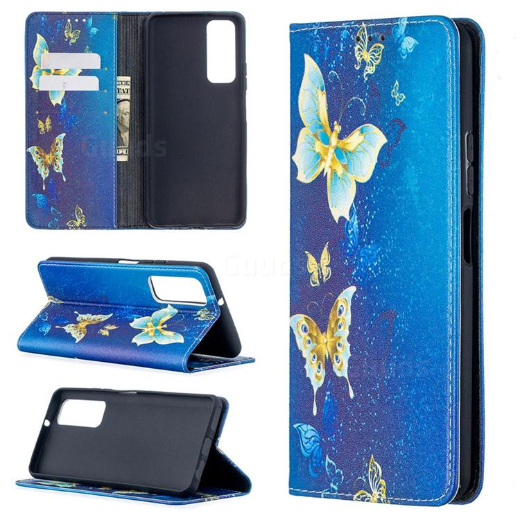Gold Butterfly Slim Magnetic Attraction Wallet Flip Cover for Huawei P smart 2021 / Y7a