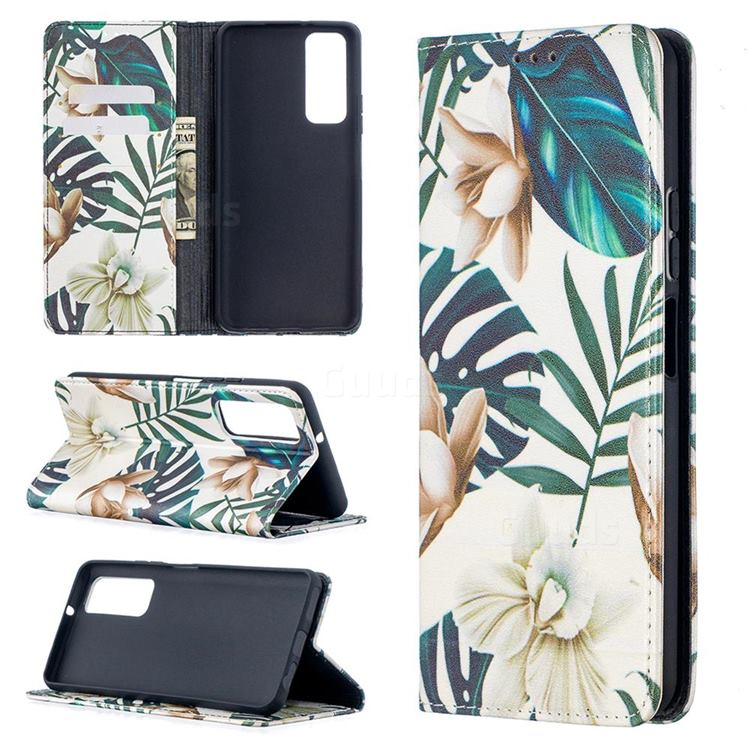 Flower Leaf Slim Magnetic Attraction Wallet Flip Cover for Huawei P smart 2021 / Y7a