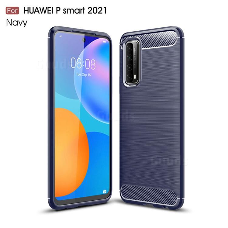 Luxury Carbon Fiber Brushed Wire Drawing Silicone TPU Back Cover for Huawei P smart 2021 / Y7a - Navy