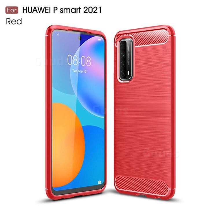 Luxury Carbon Fiber Brushed Wire Drawing Silicone TPU Back Cover for Huawei P smart 2021 / Y7a - Red