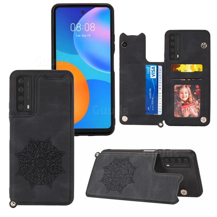 Luxury Mandala Multi-function Magnetic Card Slots Stand Leather Back Cover for Huawei P smart 2021 / Y7a - Black