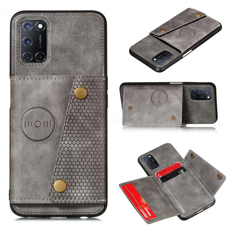 Retro Multifunction Card Slots Stand Leather Coated Phone Back Cover for Huawei P smart 2021 / Y7a - Gray