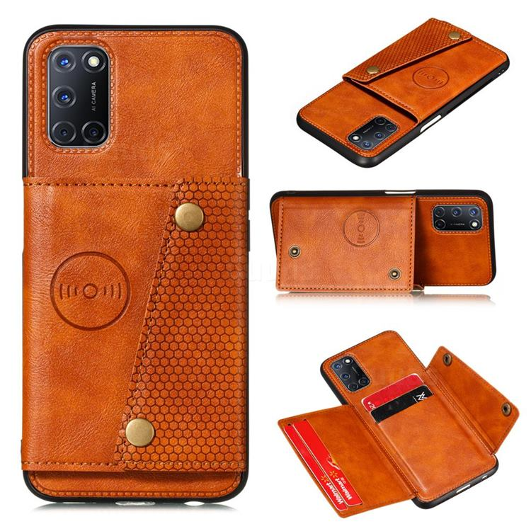 Retro Multifunction Card Slots Stand Leather Coated Phone Back Cover for Huawei P smart 2021 / Y7a - Brown