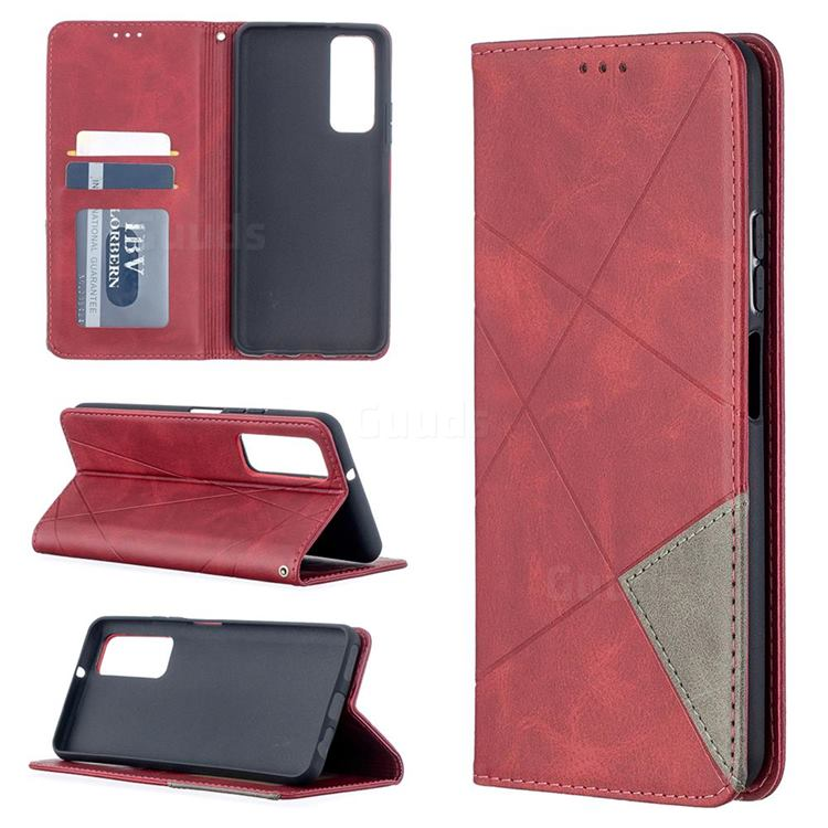 Prismatic Slim Magnetic Sucking Stitching Wallet Flip Cover for Huawei P smart 2021 / Y7a - Red