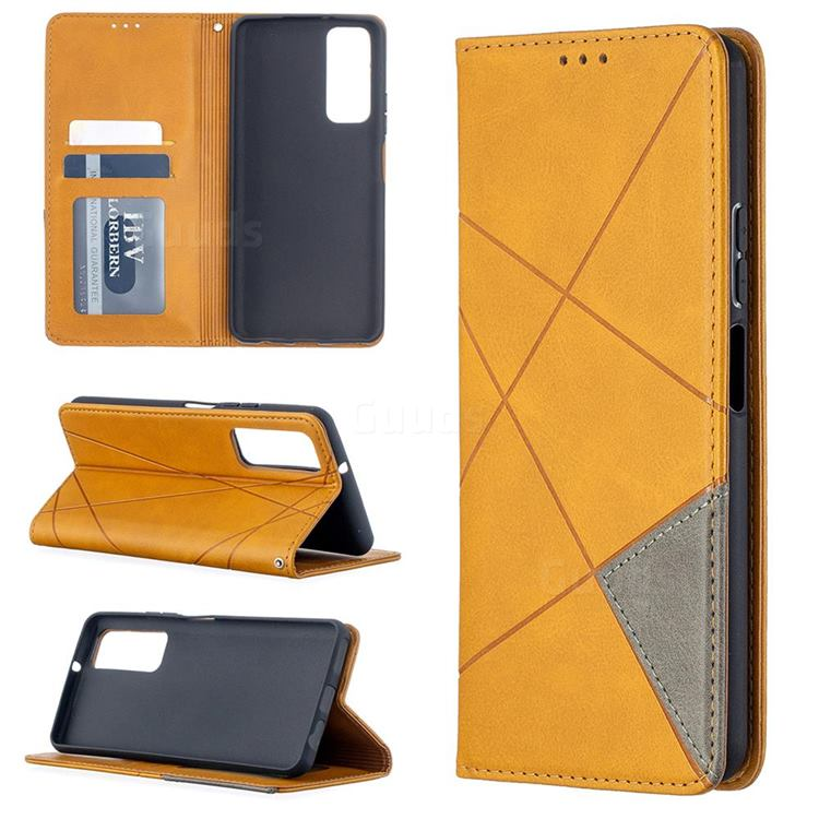 Prismatic Slim Magnetic Sucking Stitching Wallet Flip Cover for Huawei P smart 2021 / Y7a - Yellow