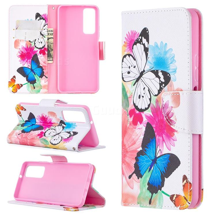 Vivid Flying Butterflies Leather Wallet Case for Huawei P smart 2021 / Y7a