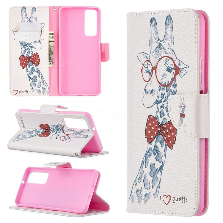 Glasses Giraffe Leather Wallet Case for Huawei P smart 2021 / Y7a