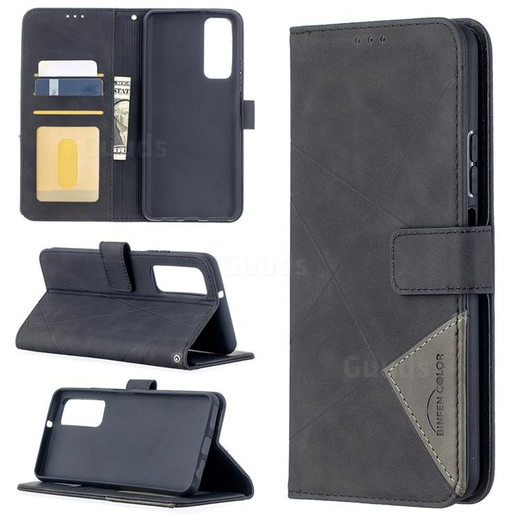 Binfen Color BF05 Prismatic Slim Wallet Flip Cover for Huawei P smart 2021 / Y7a - Black