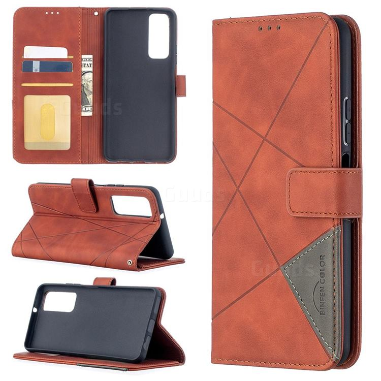 Binfen Color BF05 Prismatic Slim Wallet Flip Cover for Huawei P smart 2021 / Y7a - Brown