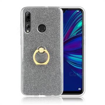 Luxury Soft TPU Glitter Back Ring Cover with 360 Rotate Finger Holder Buckle for Huawei P Smart+ (2019) - Black