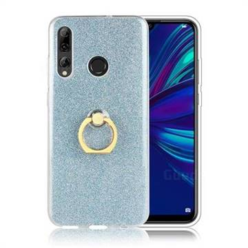 Luxury Soft TPU Glitter Back Ring Cover with 360 Rotate Finger Holder Buckle for Huawei P Smart+ (2019) - Blue
