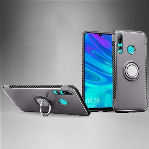 Armor Anti Drop Carbon PC + Silicon Invisible Ring Holder Phone Case for Huawei P Smart+ (2019) - Grey
