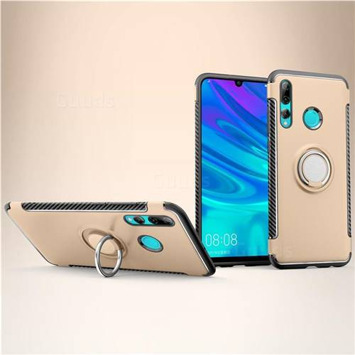 Armor Anti Drop Carbon PC + Silicon Invisible Ring Holder Phone Case for Huawei P Smart+ (2019) - Champagne