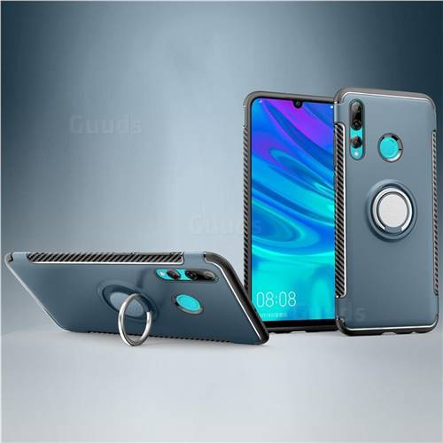 Armor Anti Drop Carbon PC + Silicon Invisible Ring Holder Phone Case for Huawei P Smart+ (2019) - Navy