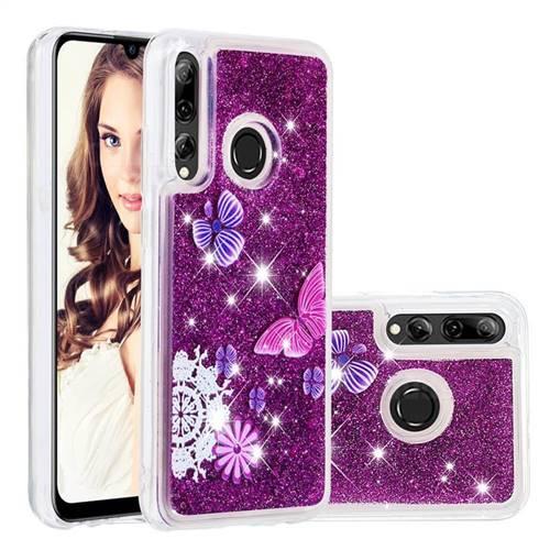 Purple Flower Butterfly Dynamic Liquid Glitter Quicksand Soft TPU Case for Huawei P Smart+ (2019)