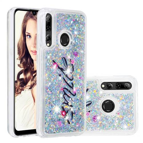 Smile Flower Dynamic Liquid Glitter Quicksand Soft TPU Case for Huawei P Smart+ (2019)
