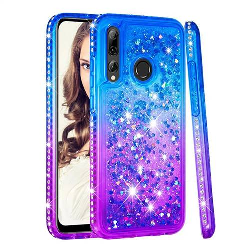Diamond Frame Liquid Glitter Quicksand Sequins Phone Case for Huawei P Smart+ (2019) - Blue Purple
