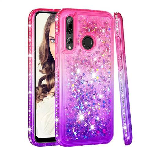 Diamond Frame Liquid Glitter Quicksand Sequins Phone Case for Huawei P Smart+ (2019) - Pink Purple