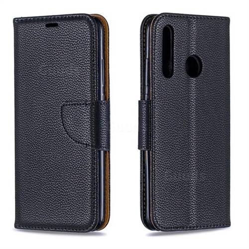 Classic Luxury Litchi Leather Phone Wallet Case for Huawei P Smart+ (2019) - Black