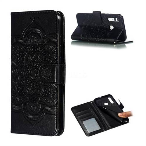 Intricate Embossing Datura Solar Leather Wallet Case for Huawei P Smart+ (2019) - Black