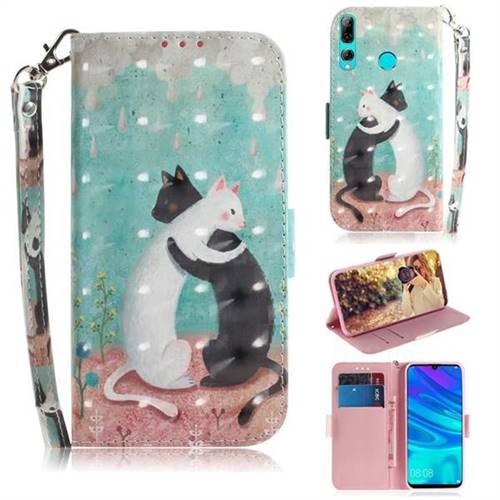 Black and White Cat 3D Painted Leather Wallet Phone Case for Huawei P Smart+ (2019)