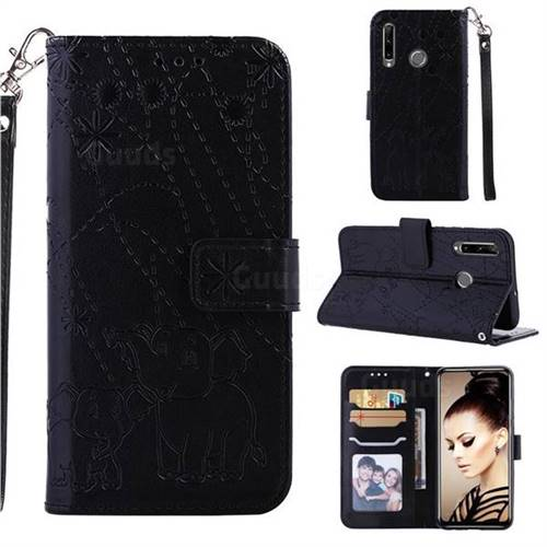 Embossing Fireworks Elephant Leather Wallet Case for Huawei P Smart+ (2019) - Black