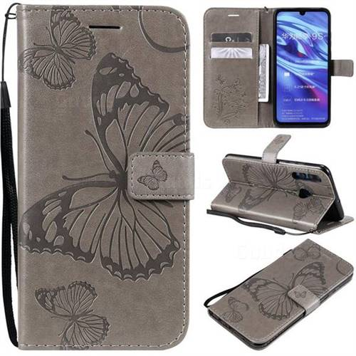Embossing 3D Butterfly Leather Wallet Case for Huawei P Smart+ (2019) - Gray