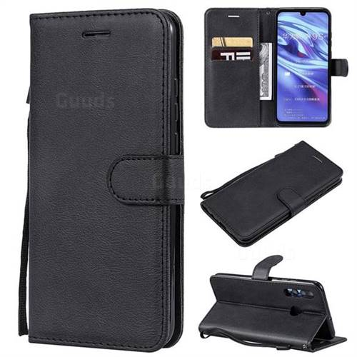 Retro Greek Classic Smooth PU Leather Wallet Phone Case for Huawei P Smart+ (2019) - Black