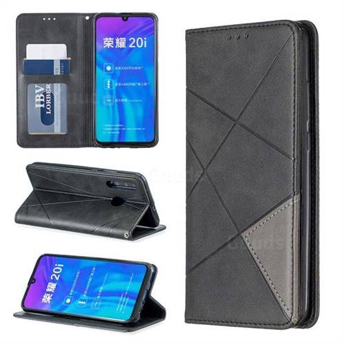Prismatic Slim Magnetic Sucking Stitching Wallet Flip Cover for Huawei P Smart+ (2019) - Black
