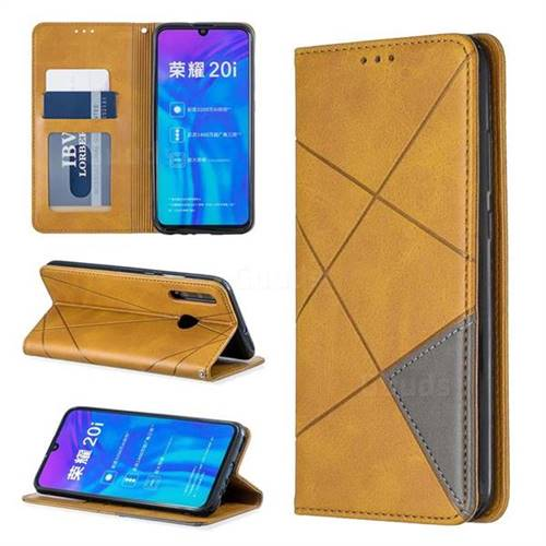 Prismatic Slim Magnetic Sucking Stitching Wallet Flip Cover for Huawei P Smart+ (2019) - Yellow