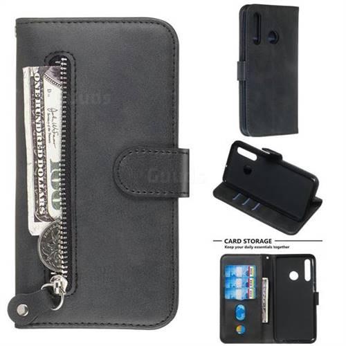 Retro Luxury Zipper Leather Phone Wallet Case for Huawei P Smart+ (2019) - Black