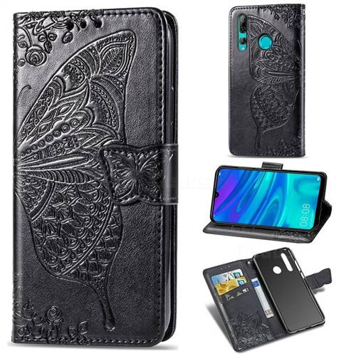 Embossing Mandala Flower Butterfly Leather Wallet Case for Huawei P Smart+ (2019) - Black