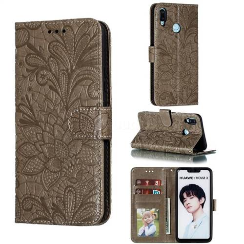 Intricate Embossing Lace Jasmine Flower Leather Wallet Case for Huawei P Smart+ (2019) - Gray