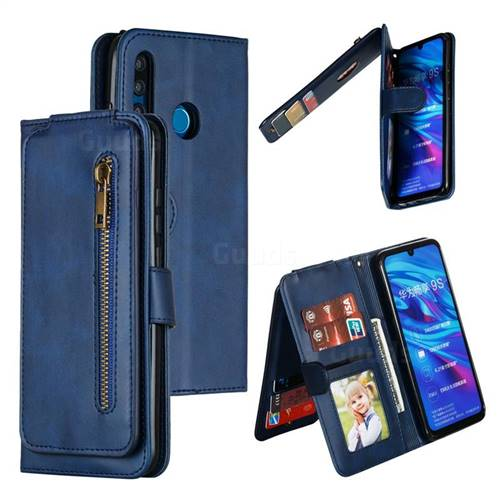 Multifunction 9 Cards Leather Zipper Wallet Phone Case for Huawei P Smart+ (2019) - Blue