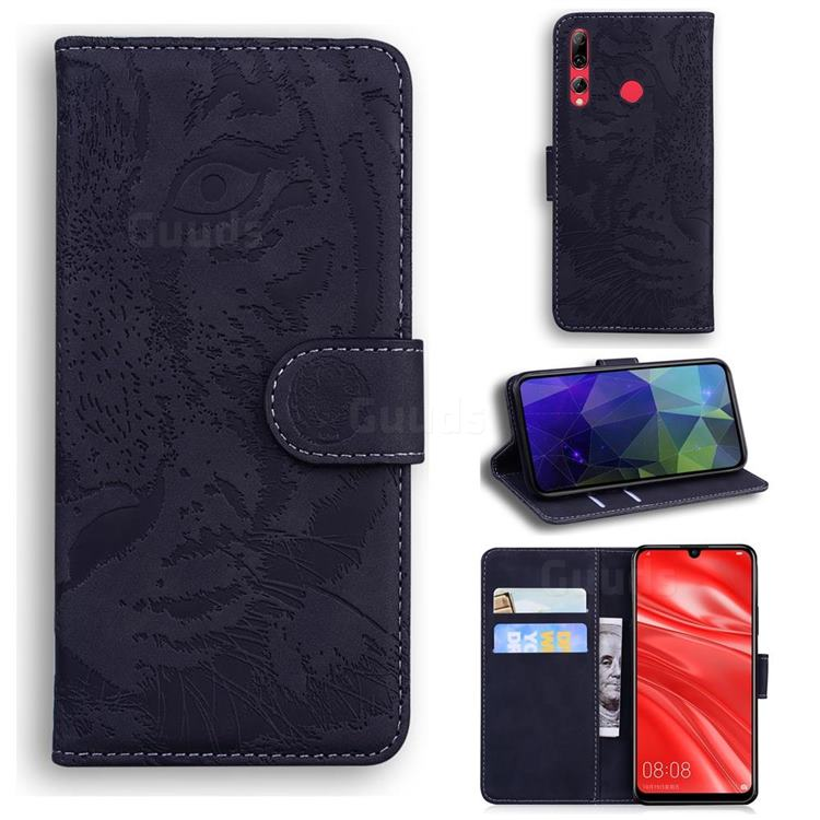 Intricate Embossing Tiger Face Leather Wallet Case for Huawei P Smart+ (2019) - Black