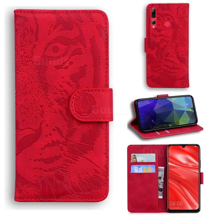 Intricate Embossing Tiger Face Leather Wallet Case for Huawei P Smart+ (2019) - Red